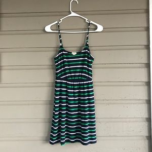 Navy Blue/Green Striped Linen J. Crew Dress XXS